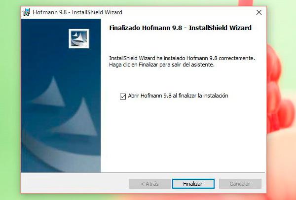 Finalizar instalación Hofmann en Windows 10